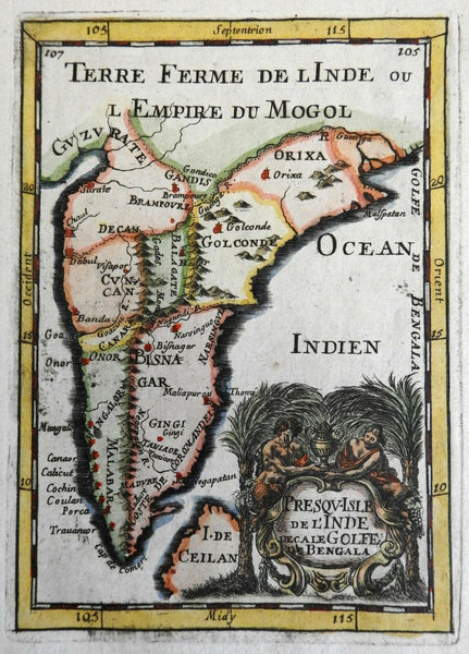 Mughal Empire India Ceylon Gujarat Ganges River 1683 Mallet decorative map