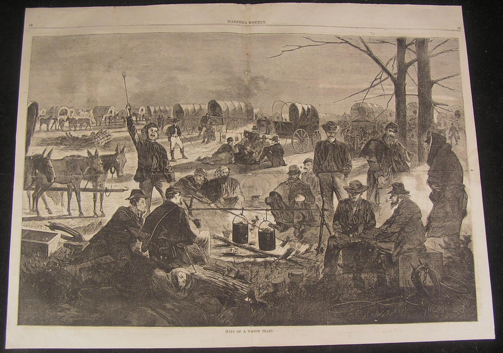 Wagon Train Halting Weary Union Soldiers Dinner 1864 antique large Homer print