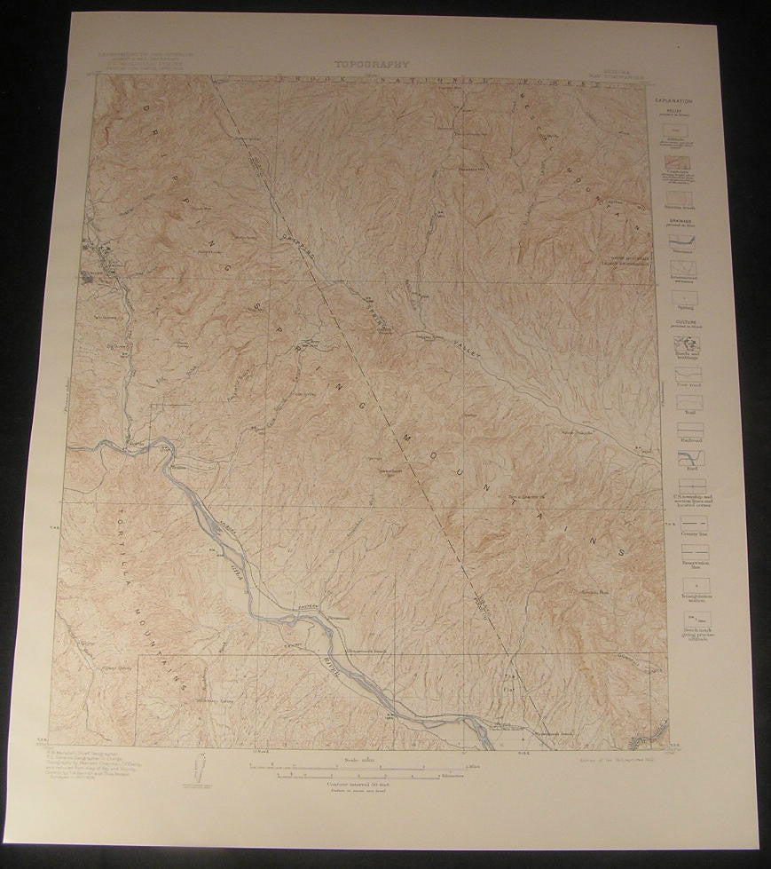 Ray Gila River Sonora Kelvin Troy Arizona 1922 vintage color Geology map