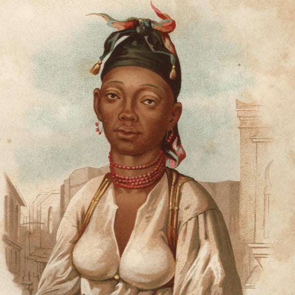 Africa Timbuktu African black woman 1876 scarce lovely old ethnic costume print