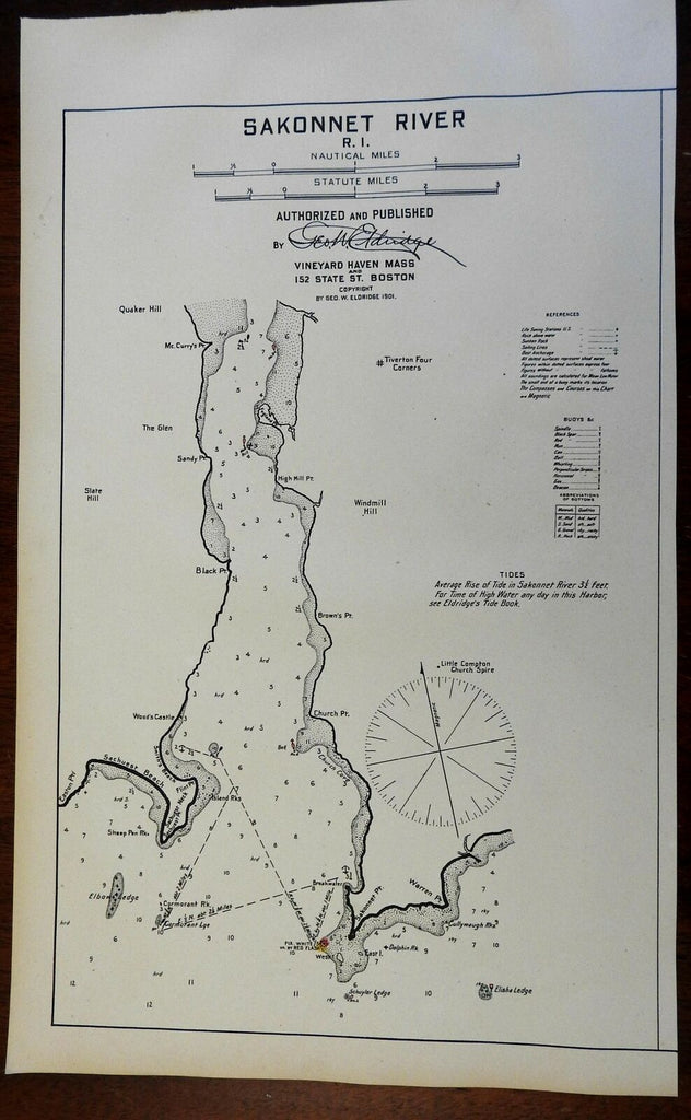 Sakonnet River Rhode Island 1901 Eldridge detailed coastal nautical survey