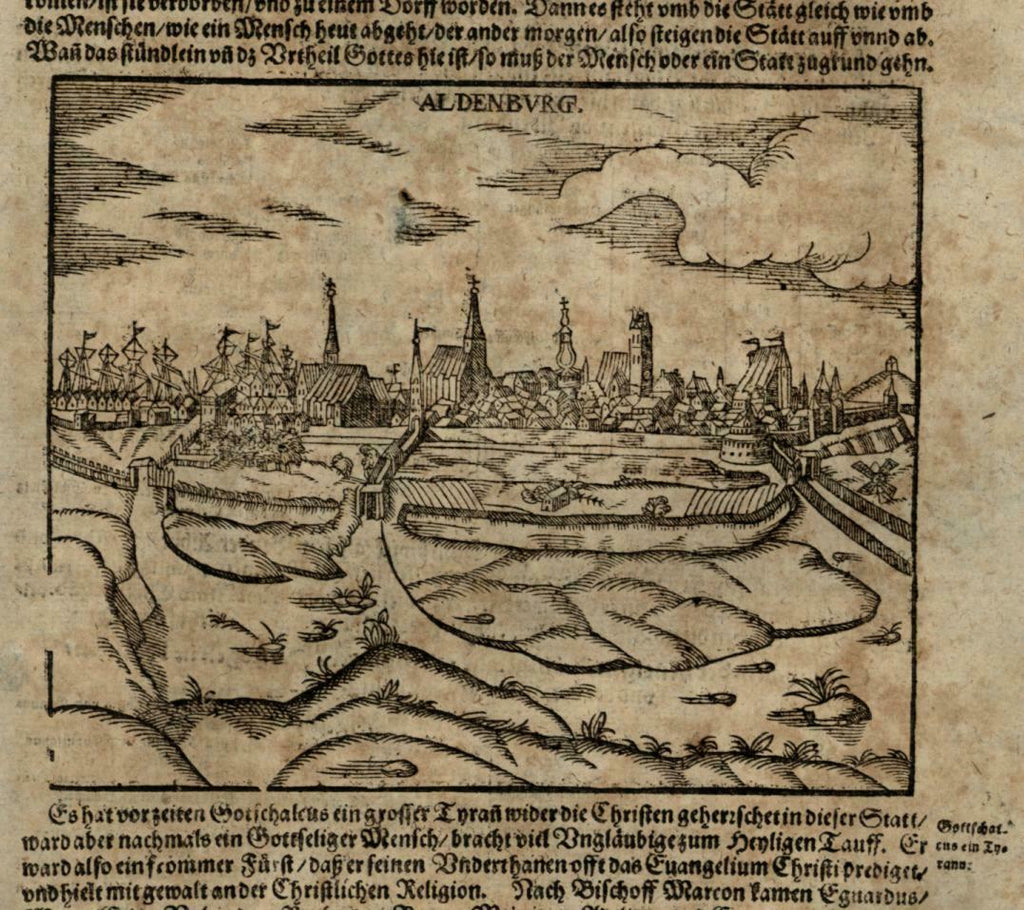 Aldenburg Germany 1628 Munster Cosmography wood cut print birds-eye city view