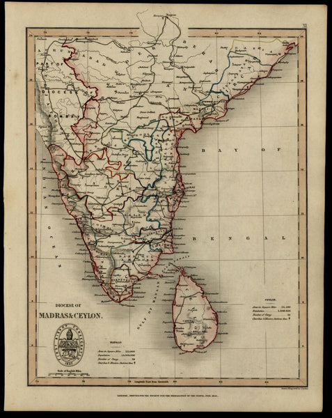 India Ceylon Sri Lanka 1843 Christianity missions map Clergy counts unusual
