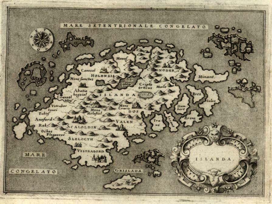 Iceland by Porcacchi 1576 wonderful miniature map
