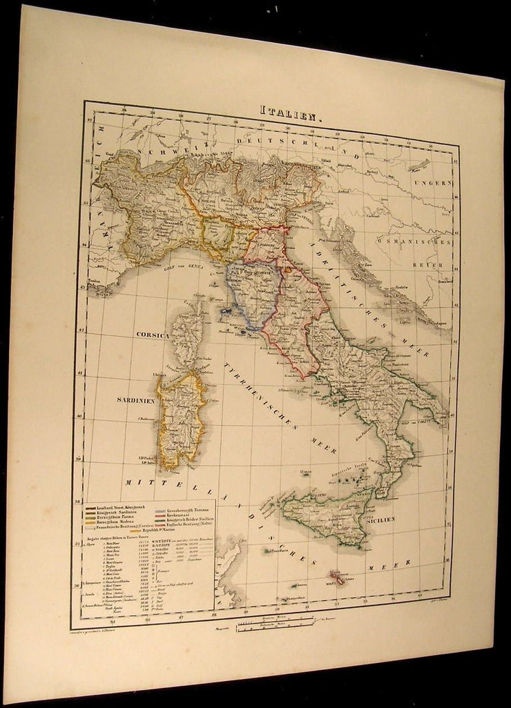 Italy Sardinia Sicily Rome Naples Venice Turin 1855 Flemming old antique map