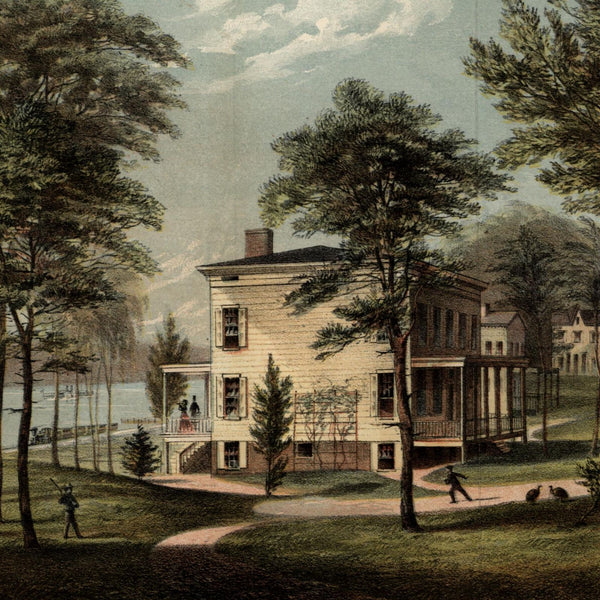 Audubon House Estate Banks of Hudson 1865 New York city view lithographed print