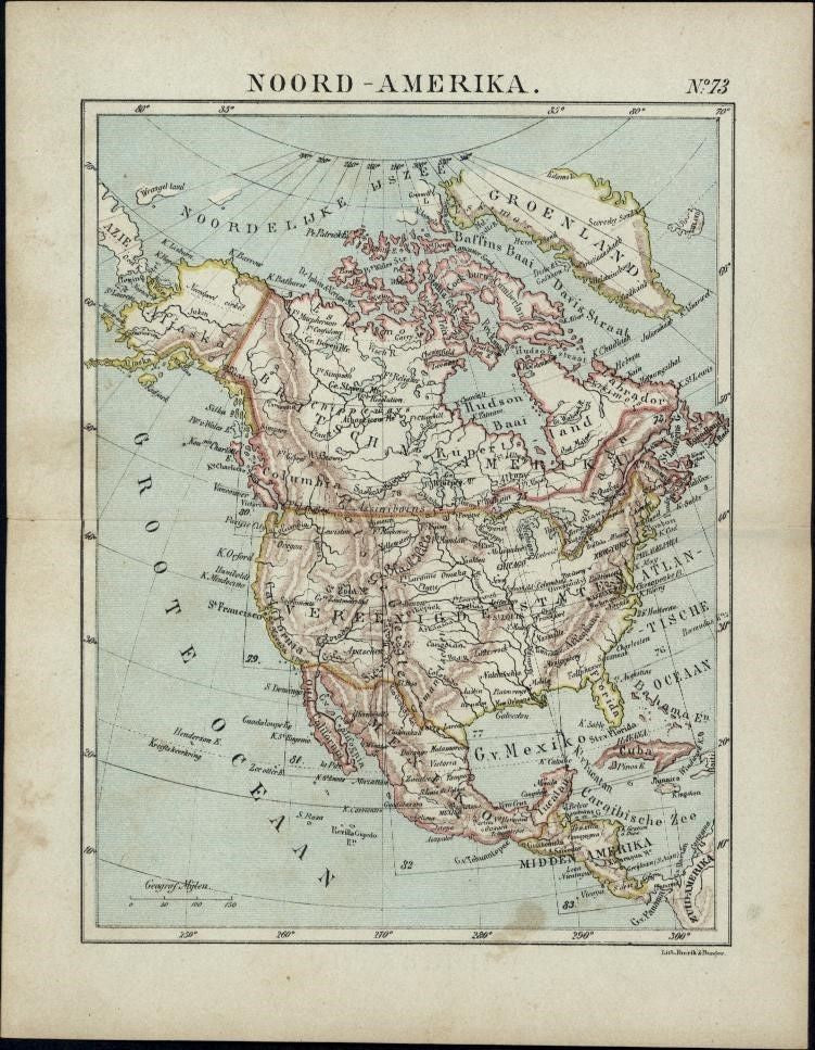 North America 1880 Dutch color lithographed small map United States