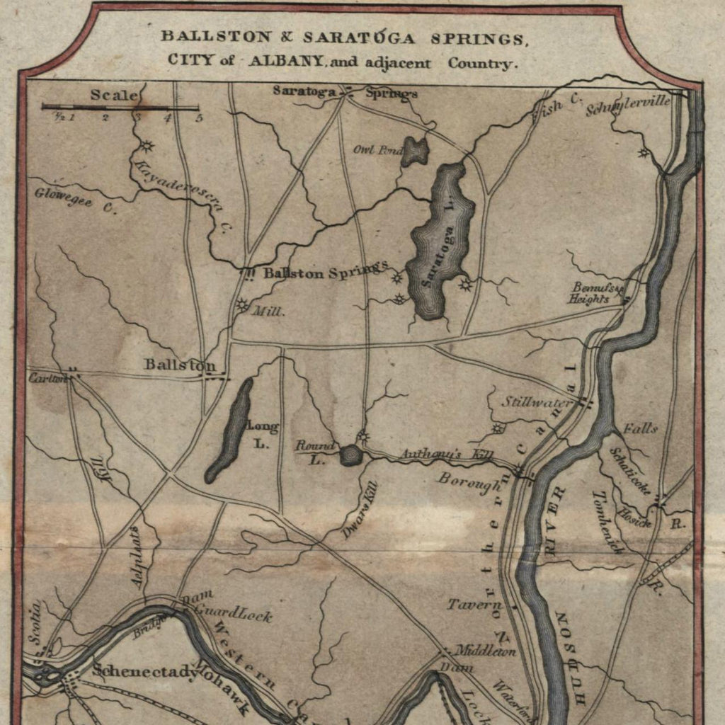 New York Hudson River Northern Canal Albany 1826 scarce Melish small old map
