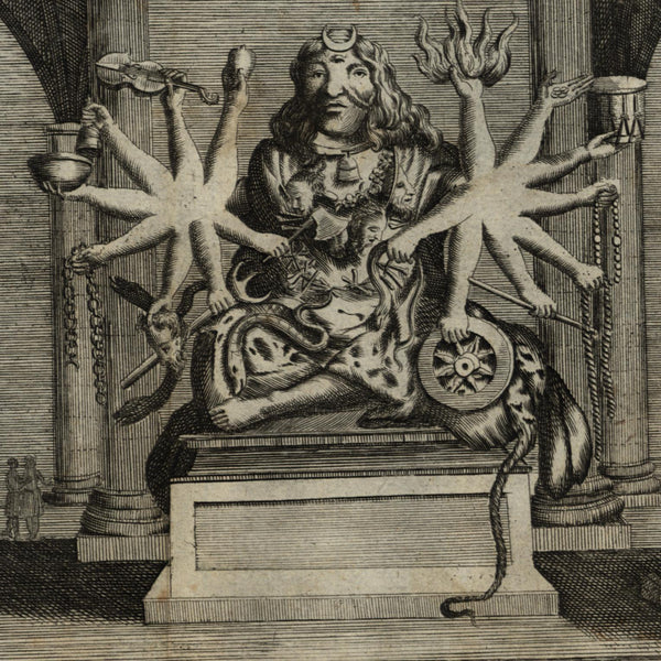 India Religion God Ixora 3 eyes & 16 hands c.1725 scarce old engraved print