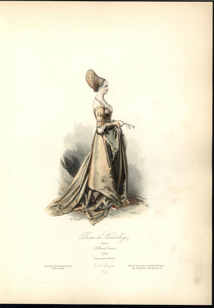 Nuremburg Dame Beautiful Gown Brooch c.1870 antique hand color costume print