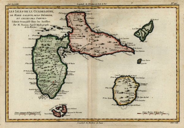 Guadeloupe Lesser Antilles Caribbean Galante 1780 Bonne engraved map hand color