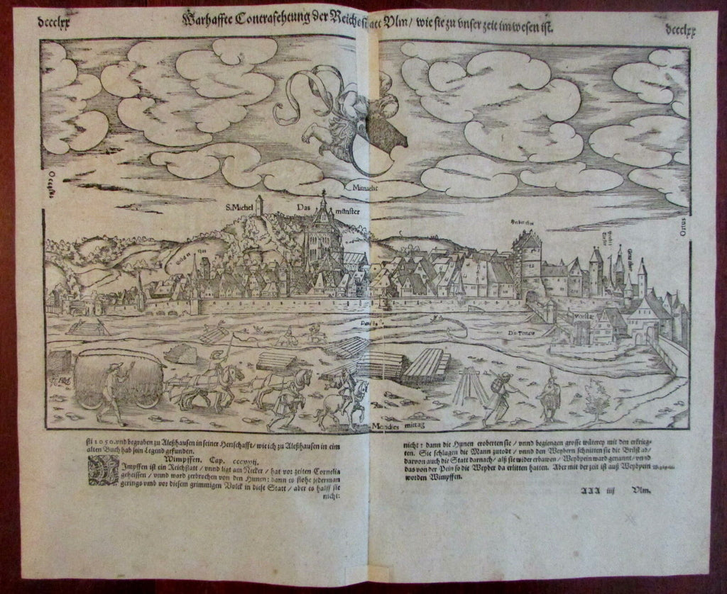 Ulm Germany panorama 1590's Munster old wood cut birds-eye city view