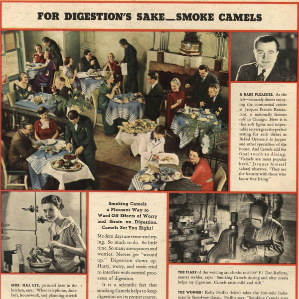 Camels 1936 Smoking in public restaurant aids Digestion old cigarette ad