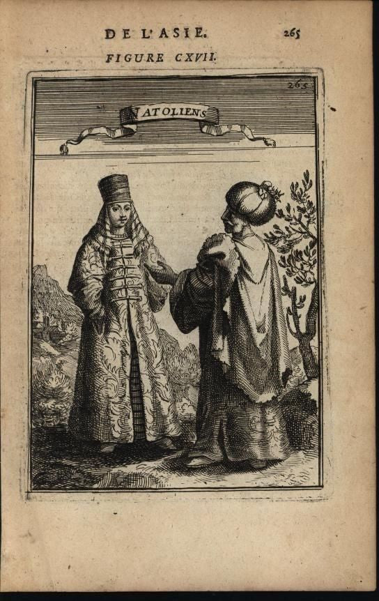Anatolians Turkey Costumes Elaborate Robes Hats 1683 antique engraved print