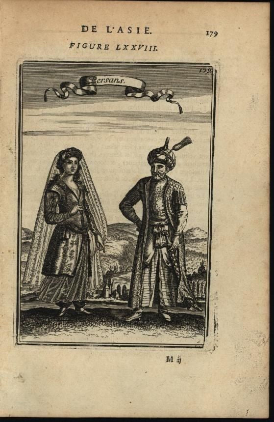 Persia Men & Woman Elaborate fube robes Costumes 1683 antique engraved print