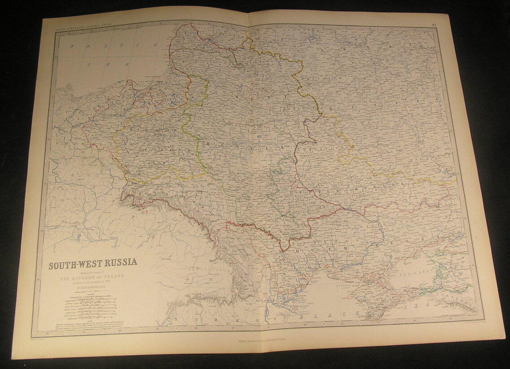 South West Russia Kingdom Poland prior Partition 1861 Johnston antique color map