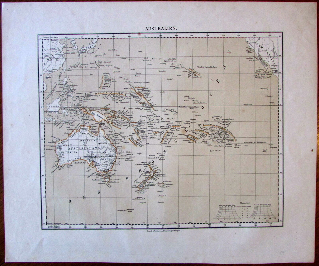 Oceania Australia New Zealand c.1864 Flemming German Flinders Land map