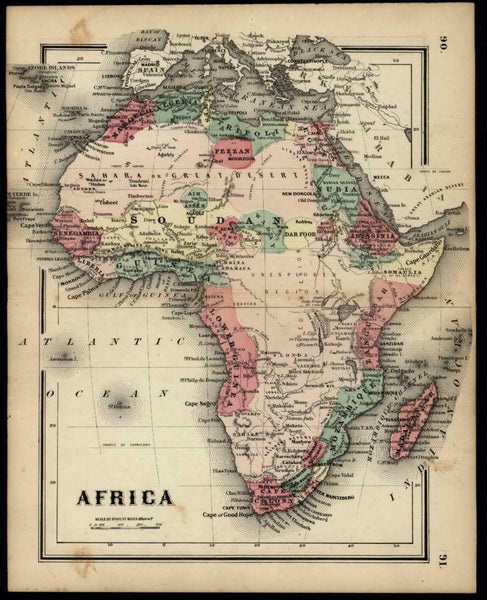 Africa continent Mts. of Kong Mts. of the Moon 1865 scarce small Colton map