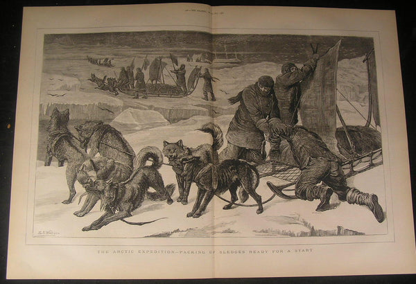Packing Dog Sled Arctic Expedition Start Excursion 1875 antique engraved print