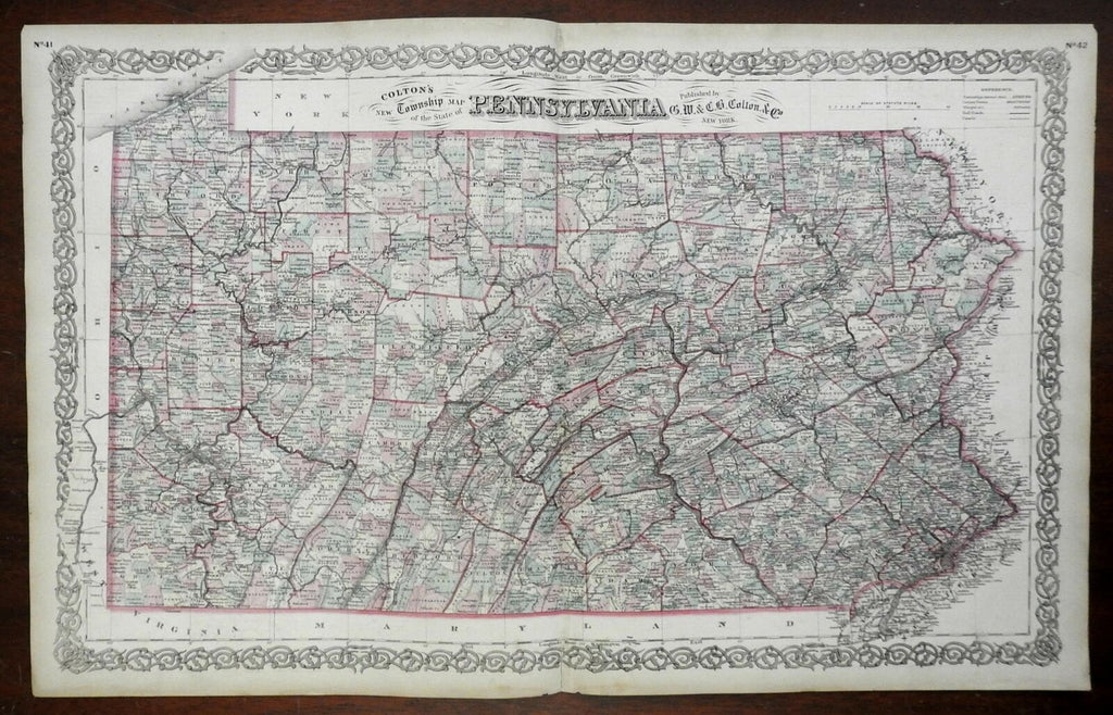 Pennsylvania Township Map Erie Philadelphia Scranton c. 1861 Colton map