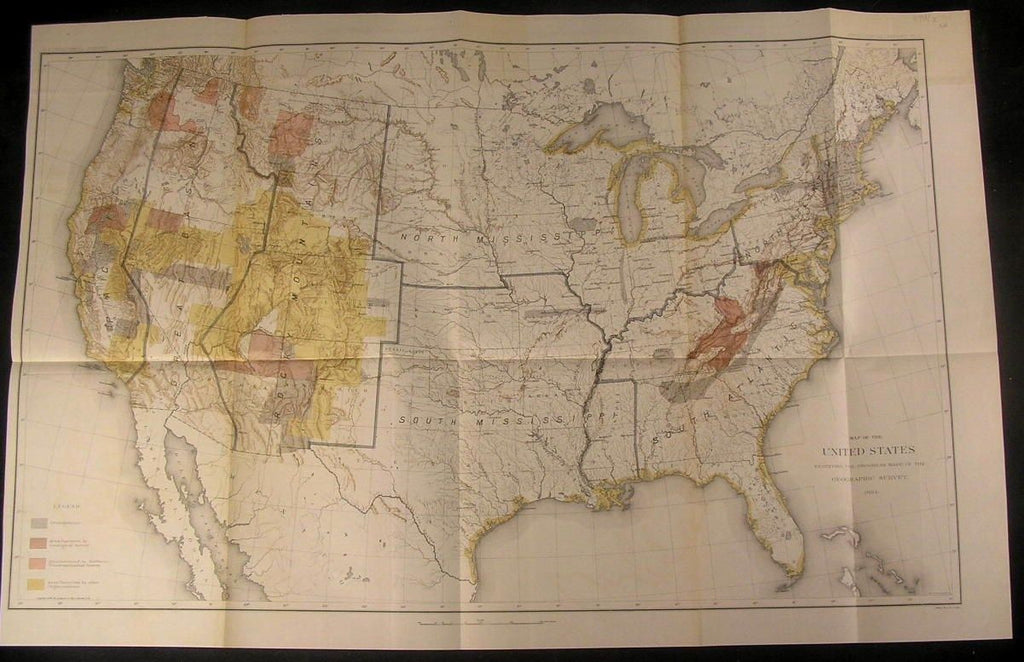 United States Geographic Survey progress 1884 antique folio color antique map