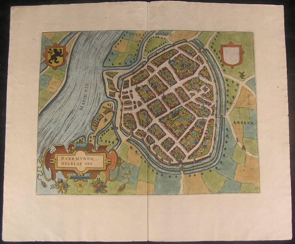 Roermond Netherlands 1582 Guicciardini antique city plan map Braun Hogenberg