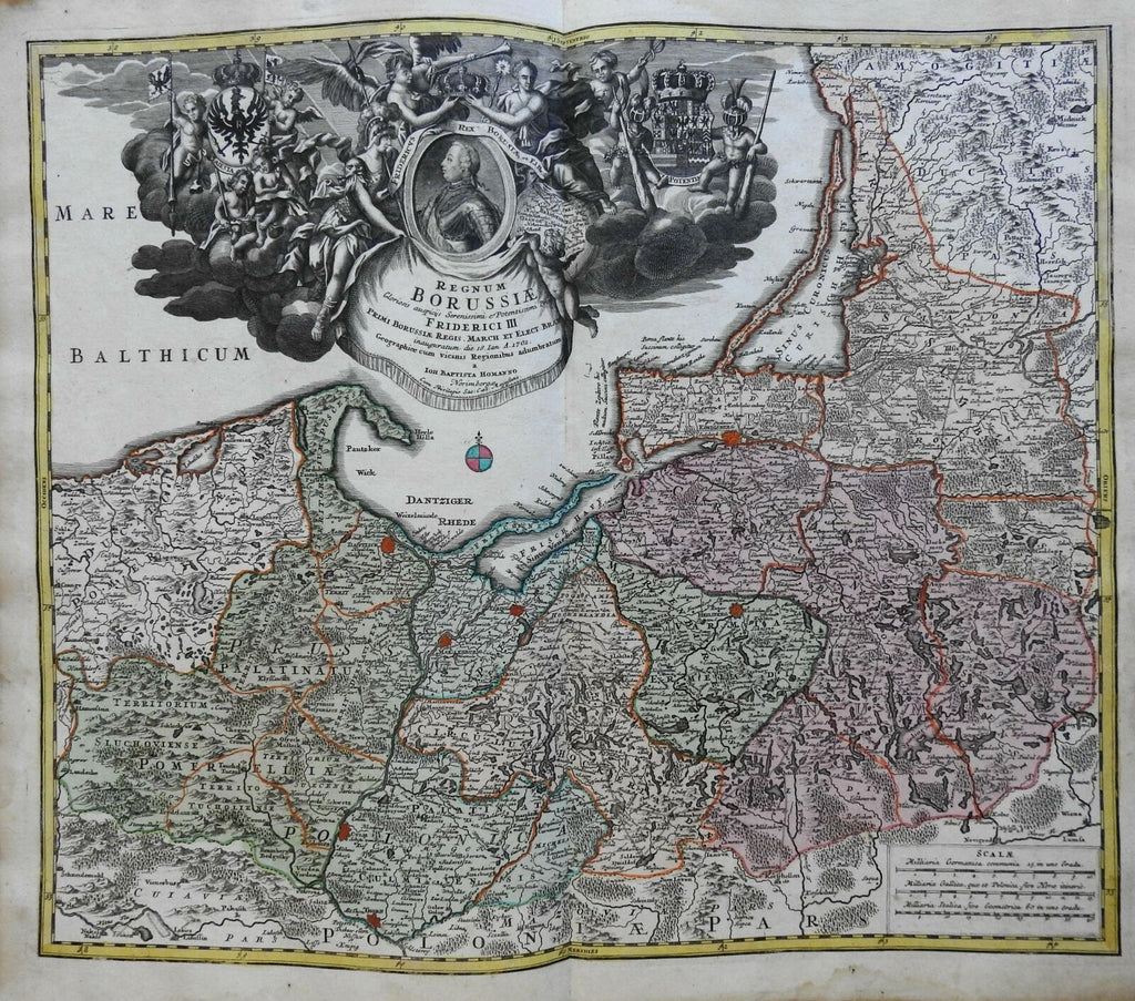 Eastern Prussia Holy Roman Empire c. 1750 Homann decorative folio map