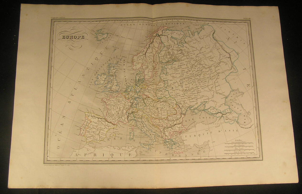 Europe Italy Greece Hungary Crimea Denmark Crete 1846 antique engraved color map