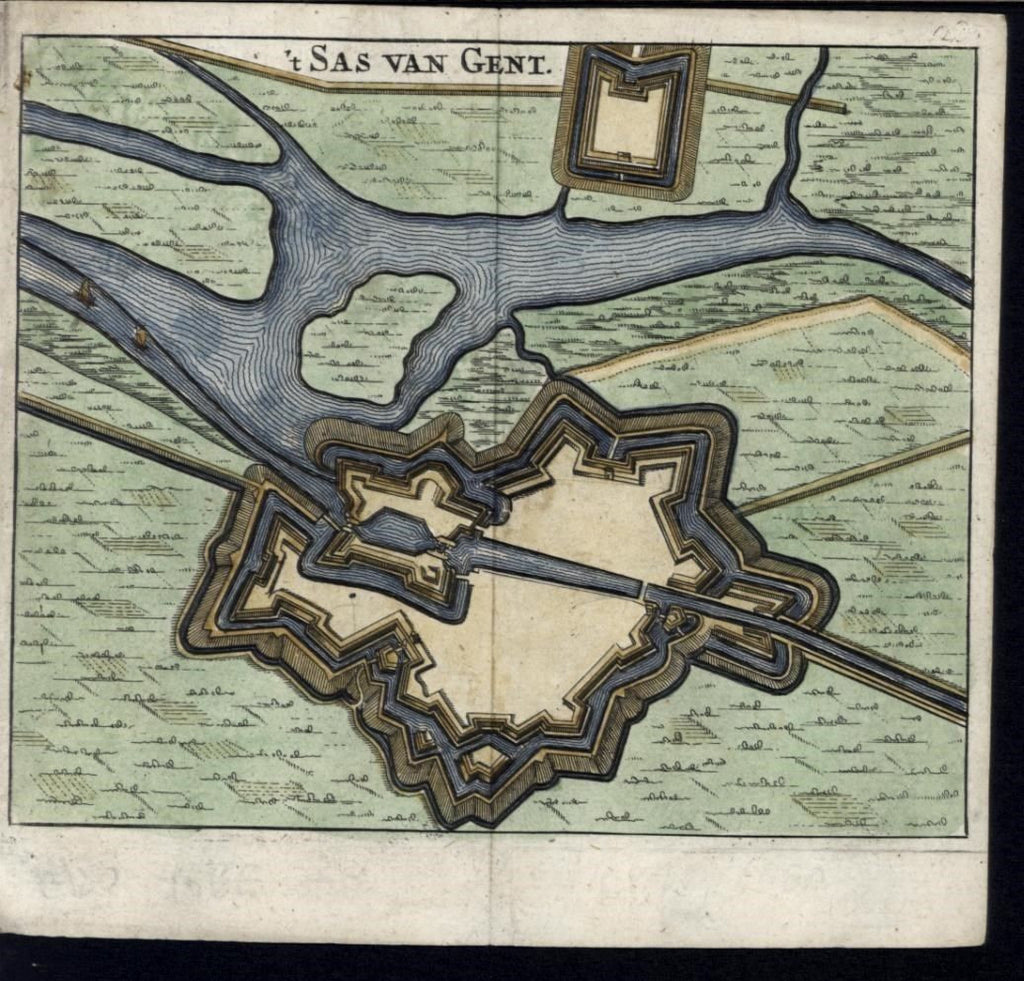 Ghent city plan Belgium 1660 Meurs fine old vintage antique miniature map