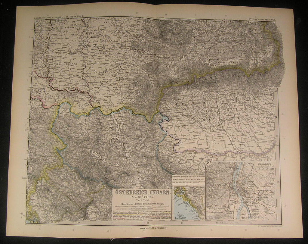 Austria Hungarian Empire Budapest Transylvania 1889 antique engraved color map