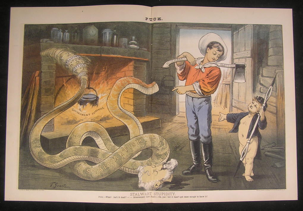 Key Independent Vote Beheading Serpent Axe 1883 antique color lithograph print