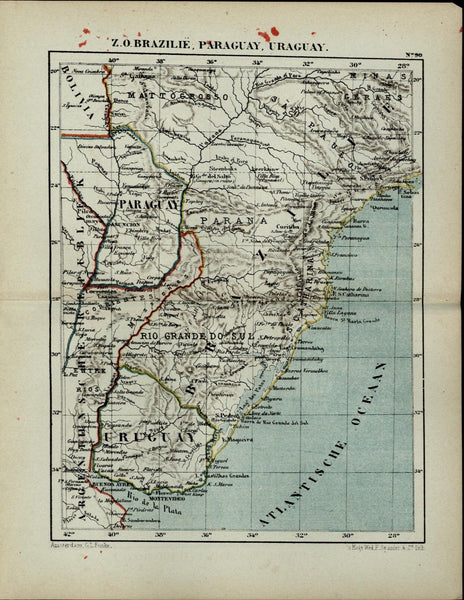 Brazil Paraguay Uruguay Bolivia South America antique 1882 detailed Dutch map