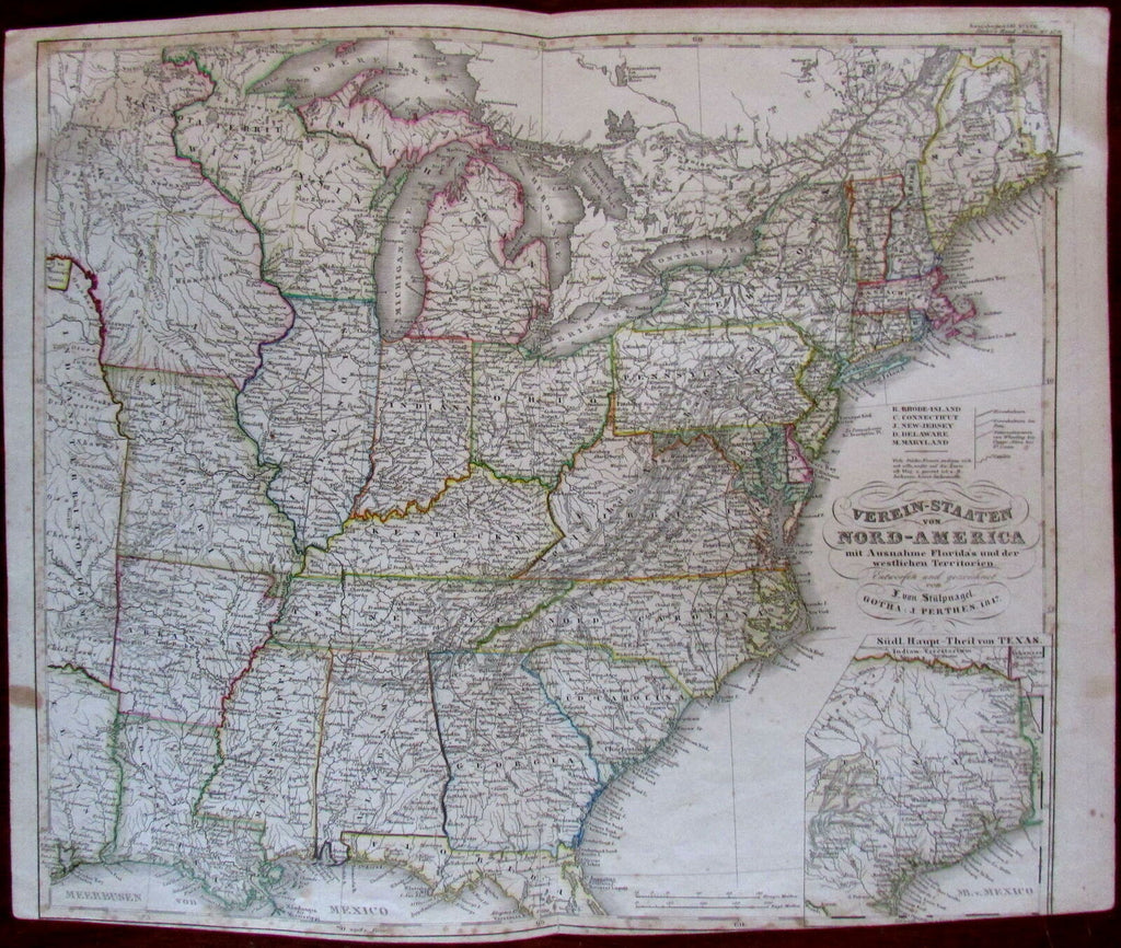 United States Texas 1847 German & French colonies highlighted Stulpnagel  Stieler