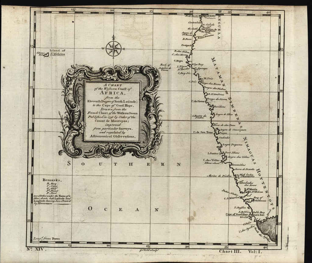 South West Africa Cape of Good Hope 1745 antique engraved map