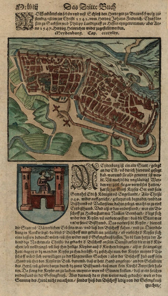 Magdeburg City Plan Germany1598 Munster Cosmography wood cut print city plan