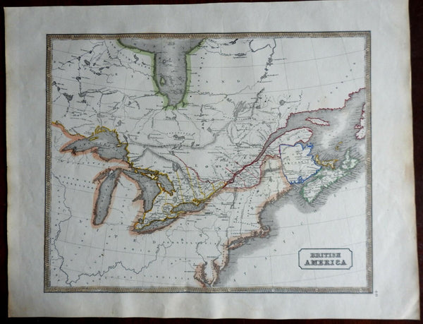 British America Canada Great Lakes New Brunswick Nova Scotia 1846 scarce map