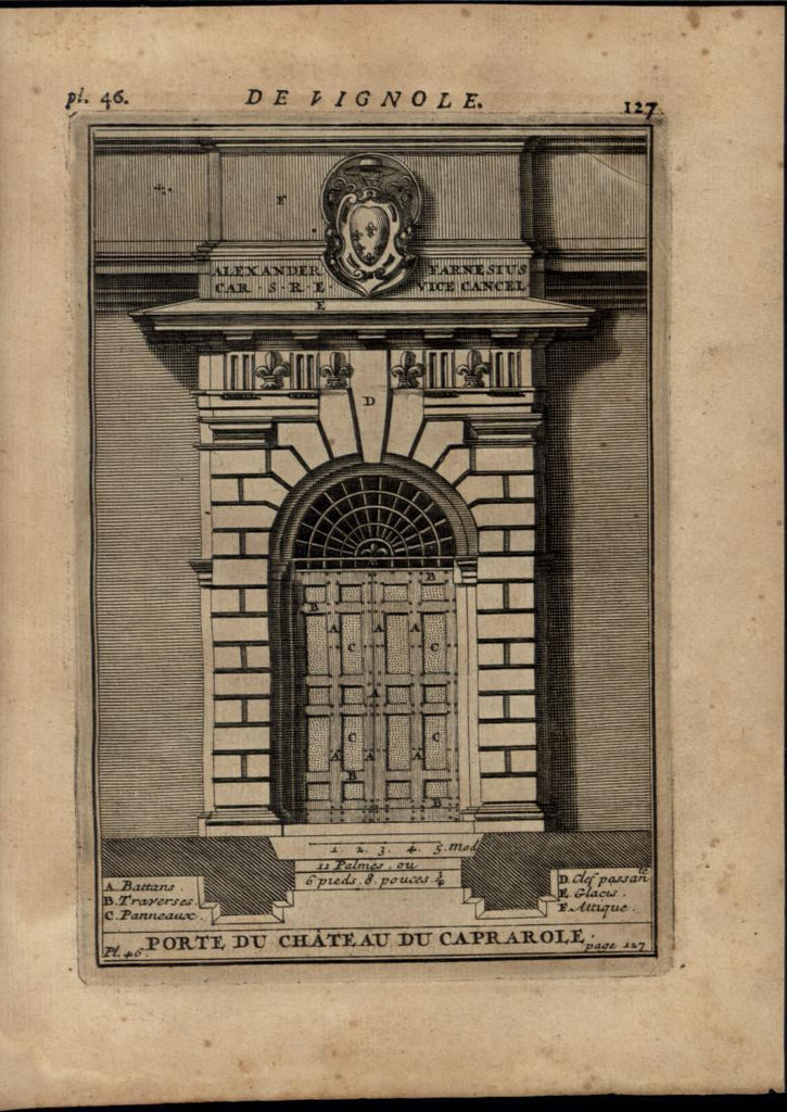 Door of Caprarola Chateau Castle Gate nice 1696 rare antique Architecture print