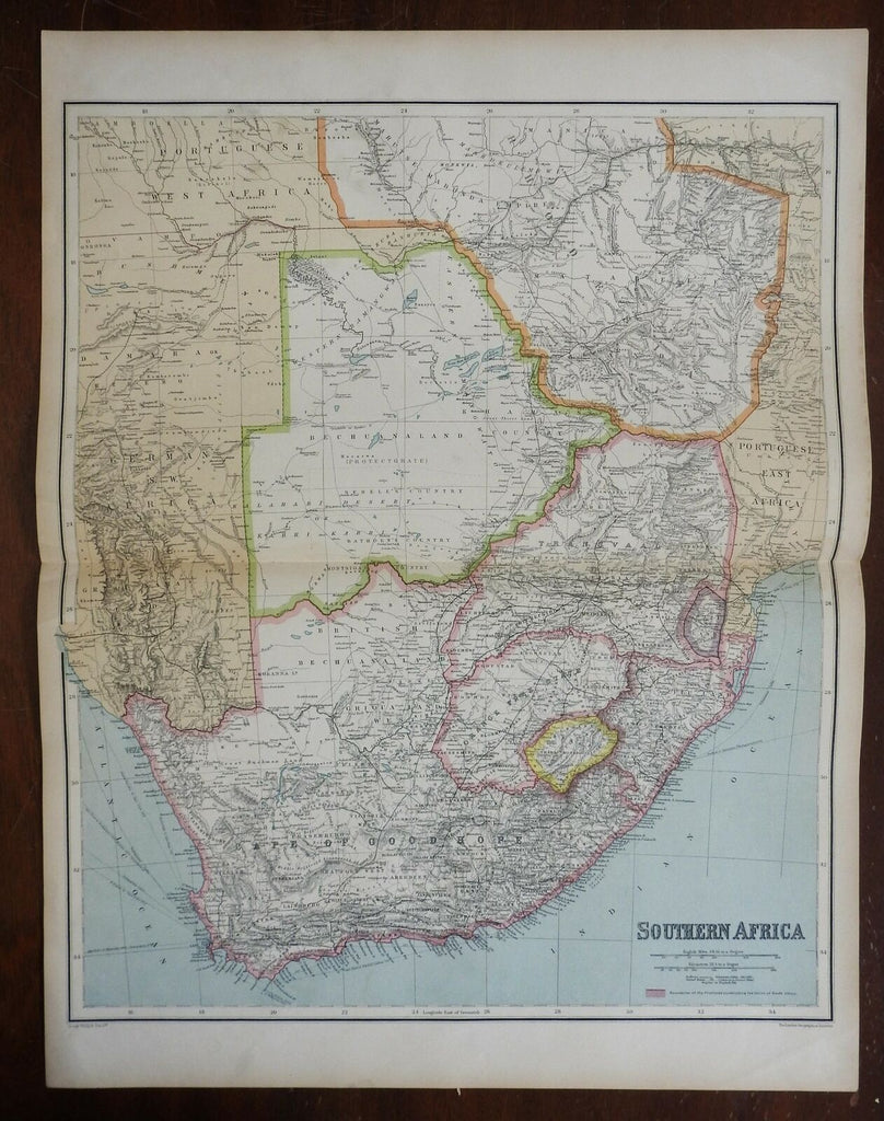 South Africa Cape Town Table Bay Orange Free State Swaziland 1914 Philip map