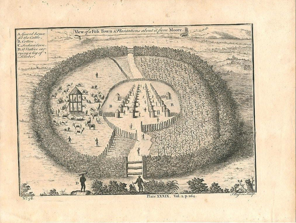 Fuli town & plantation Africa 1745 antique engraved print
