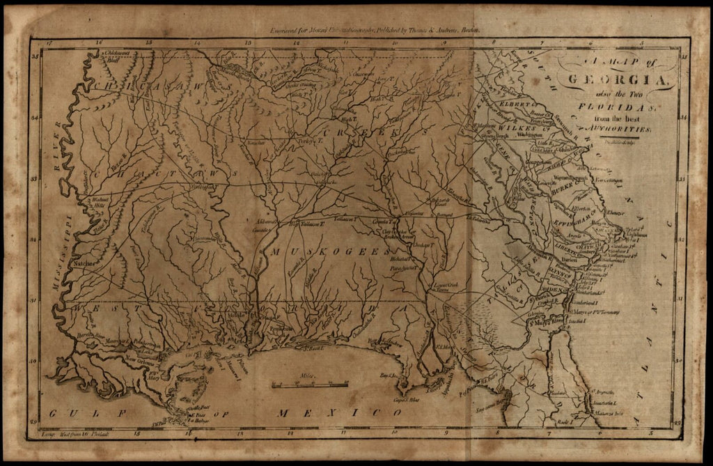 Georgia & Florida 1796 Doolittle scarce American engraved map