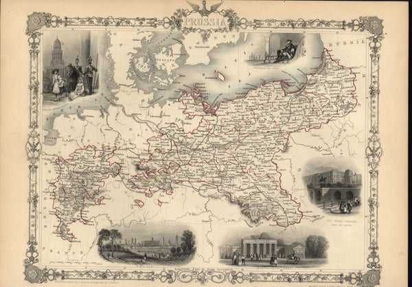 Prussia Rhine Prussian Saxony Pomerania 1851 antique decorative Tallis map