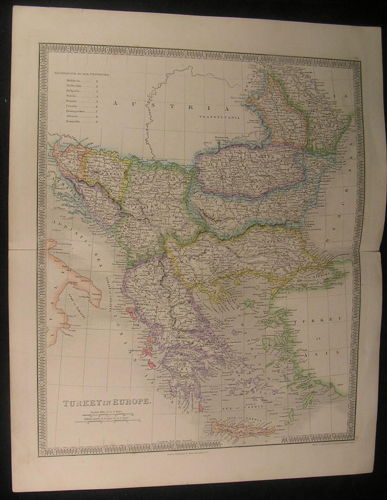 Ottoman Empire Europe Balkans Greece 1842 antique Teesdale hand color map