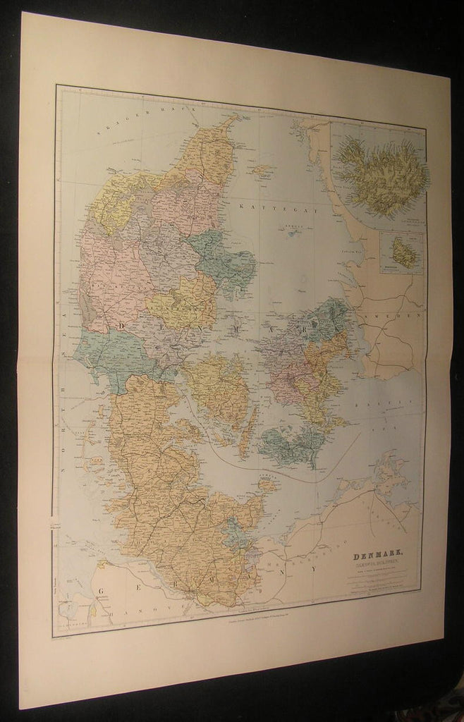 Denmark Scandinavia Iceland Jutland Zeeland c.1901 antique large color map