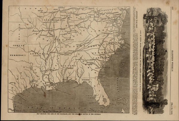 Map Showing Line of Blockade Routes Civil War 1861 great old print for display