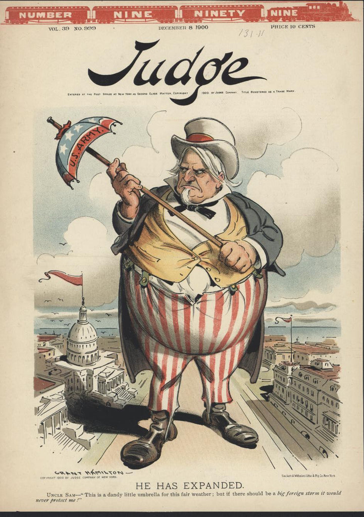 Us Army Umbrella Uncle Sam in Washington 1900 antique color lithograph print