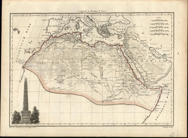 Africa Arabia Afrique Egypt Mts. of Moon c1810 scarce antique Lapie map vignette