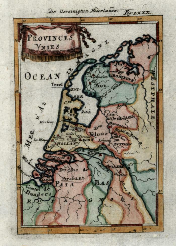 United Provinces Netherlands Holland 1719 Mallet miniature map hand color