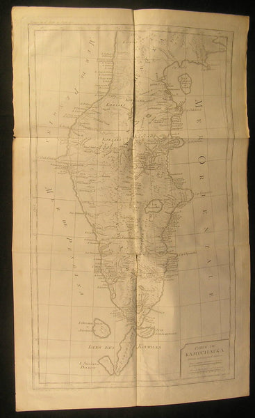 Kamchatka Peninsula Russian Empire ca. 1770 by Laurent fine large antique map
