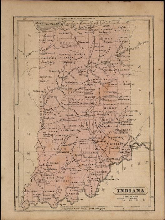 Indiana charming small c.1855-60 scarce Boynton old hand color map