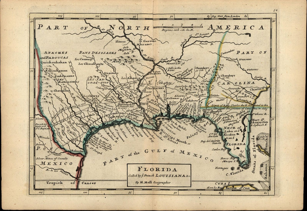 Florida French Louisiana forts Indian tribes silver mines c.1732 old rare map